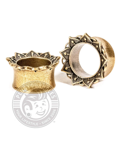 Brass Lotus Double Flared Saddle Tunnels