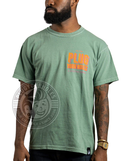 PlugYourHoles - Double Stacked - Light Green - Comfort Colors Unisex Tee