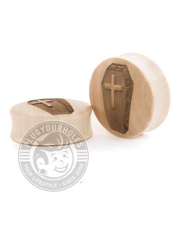 Coffin Engraved Wood Plugs - Plugyourholes.com