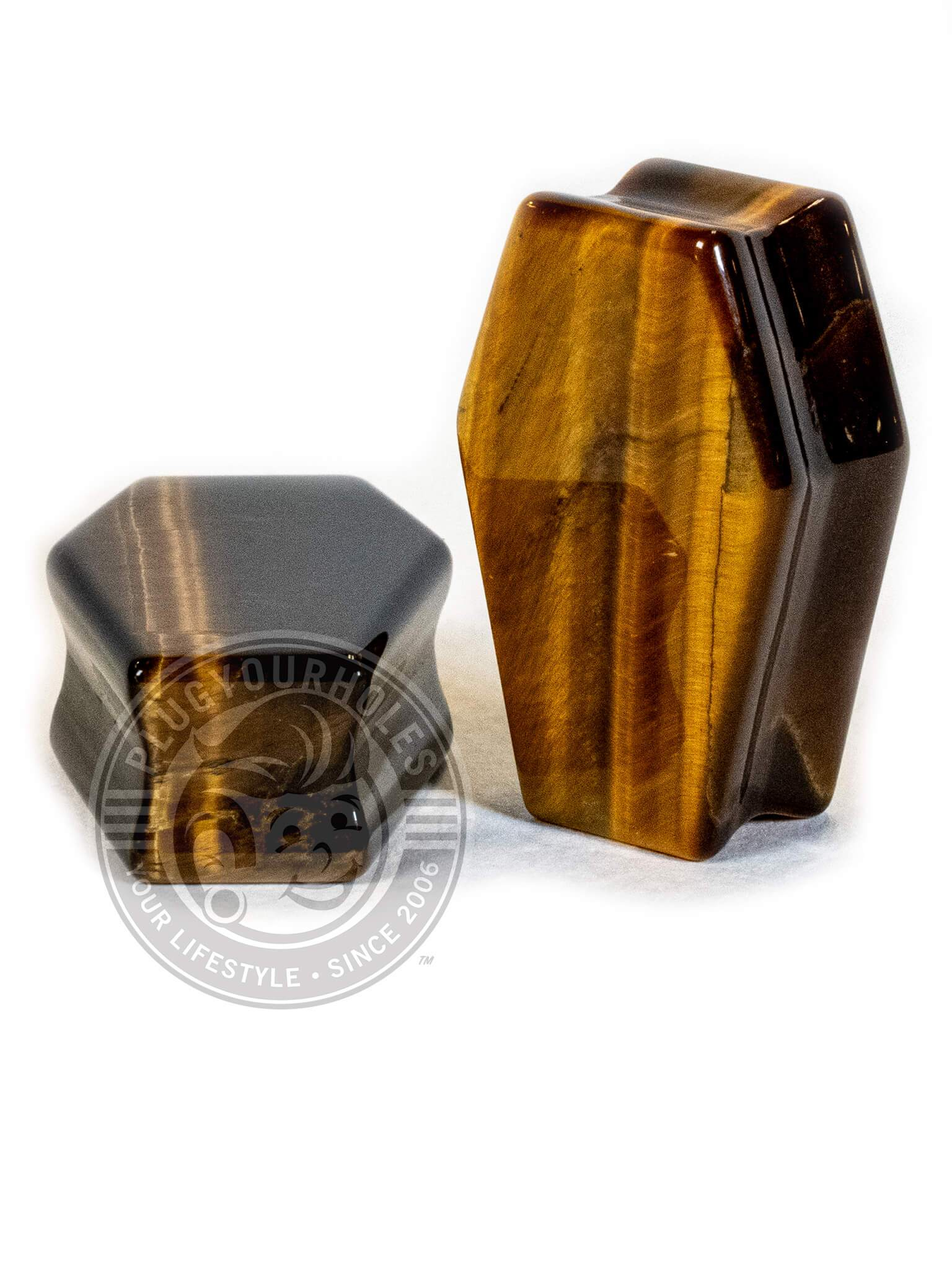 Tiger's Eye Coffin Cut Stone Plugs