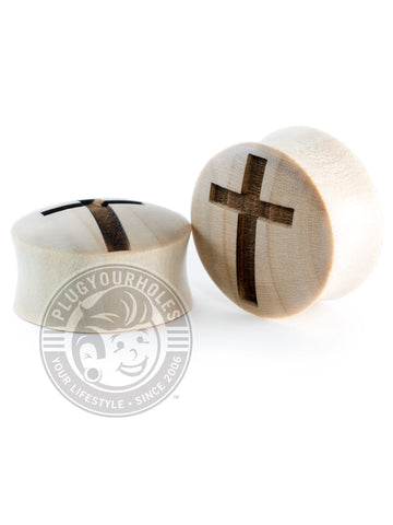 Cross Engraved Wood Plugs