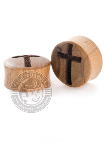 Cross Engraved Wood Plugs - Plugyourholes.com