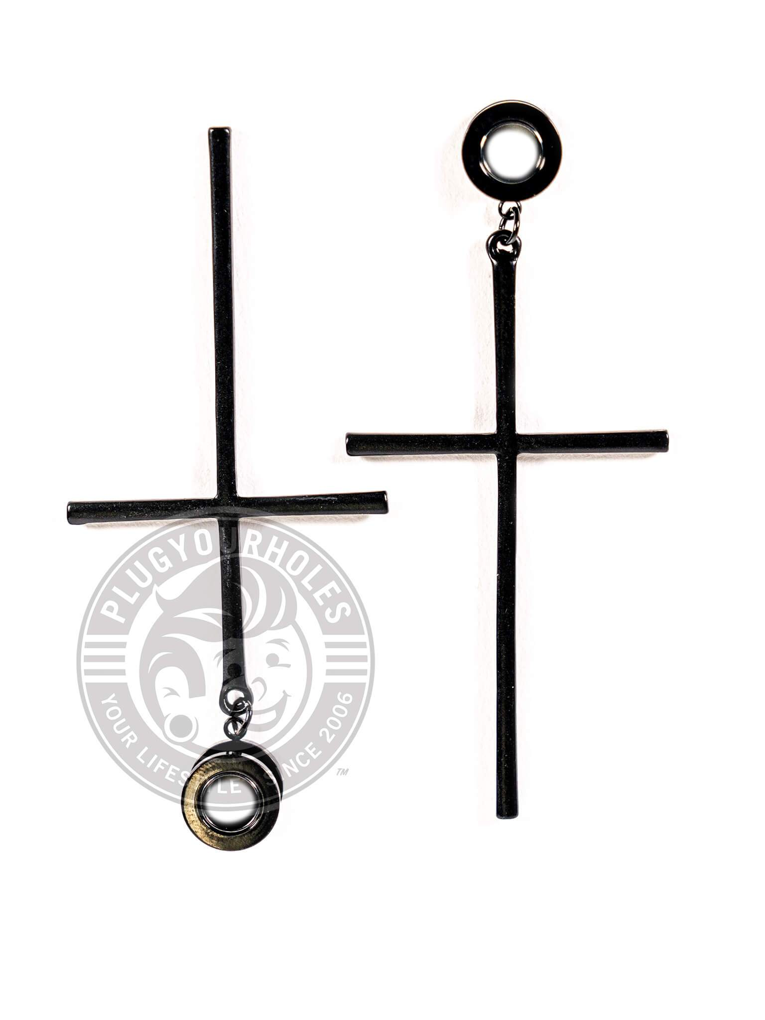 Black Cross Dangle Threaded Steel Tunnels