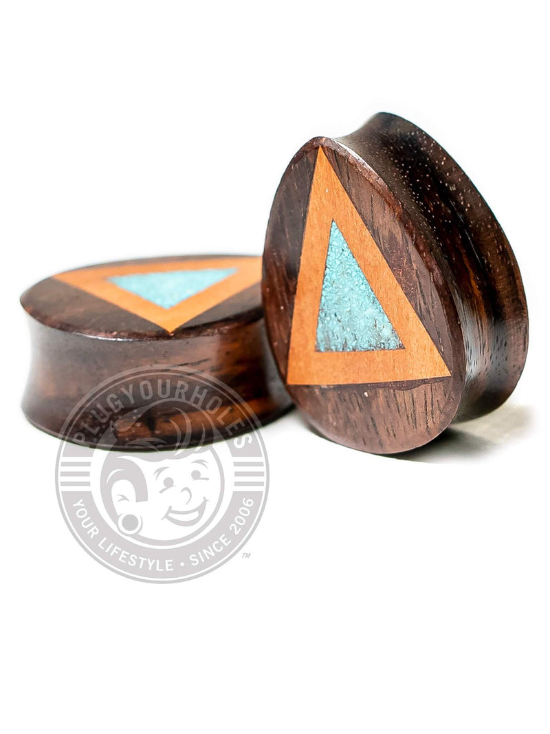 Crushed Turquoise Triangle Inlay Teardrop Sono Wood Plugs