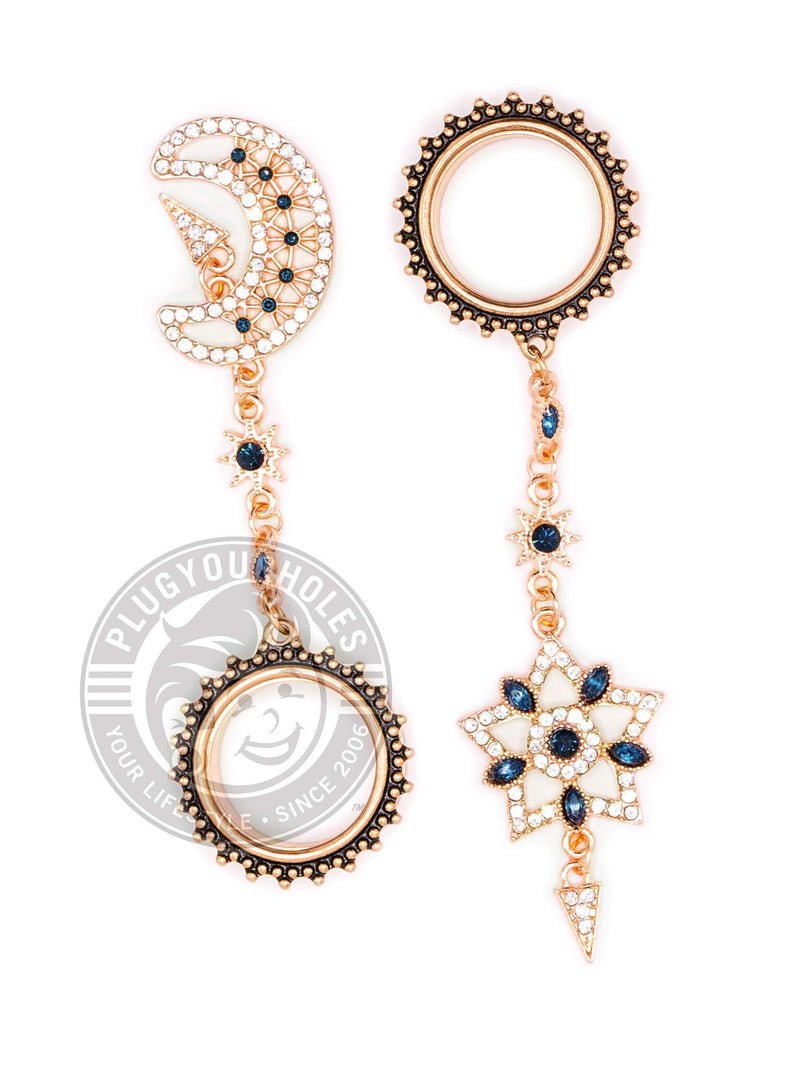 Rose Gold Moon & Star Dangle Beaded Threaded Steel Tunnels