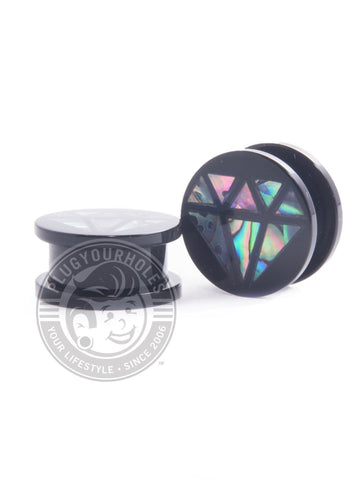 Abalone Diamond Threaded Acrylic Plugs - Plugyourholes.com