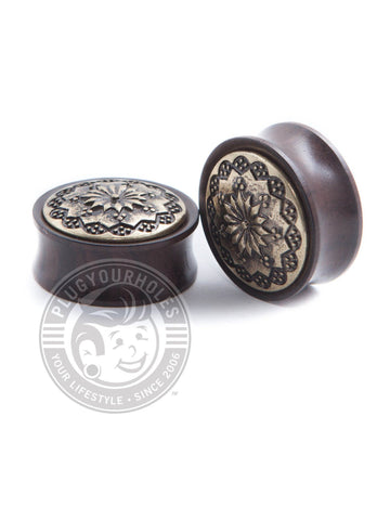 Ebony Antique Floral Wood Plugs