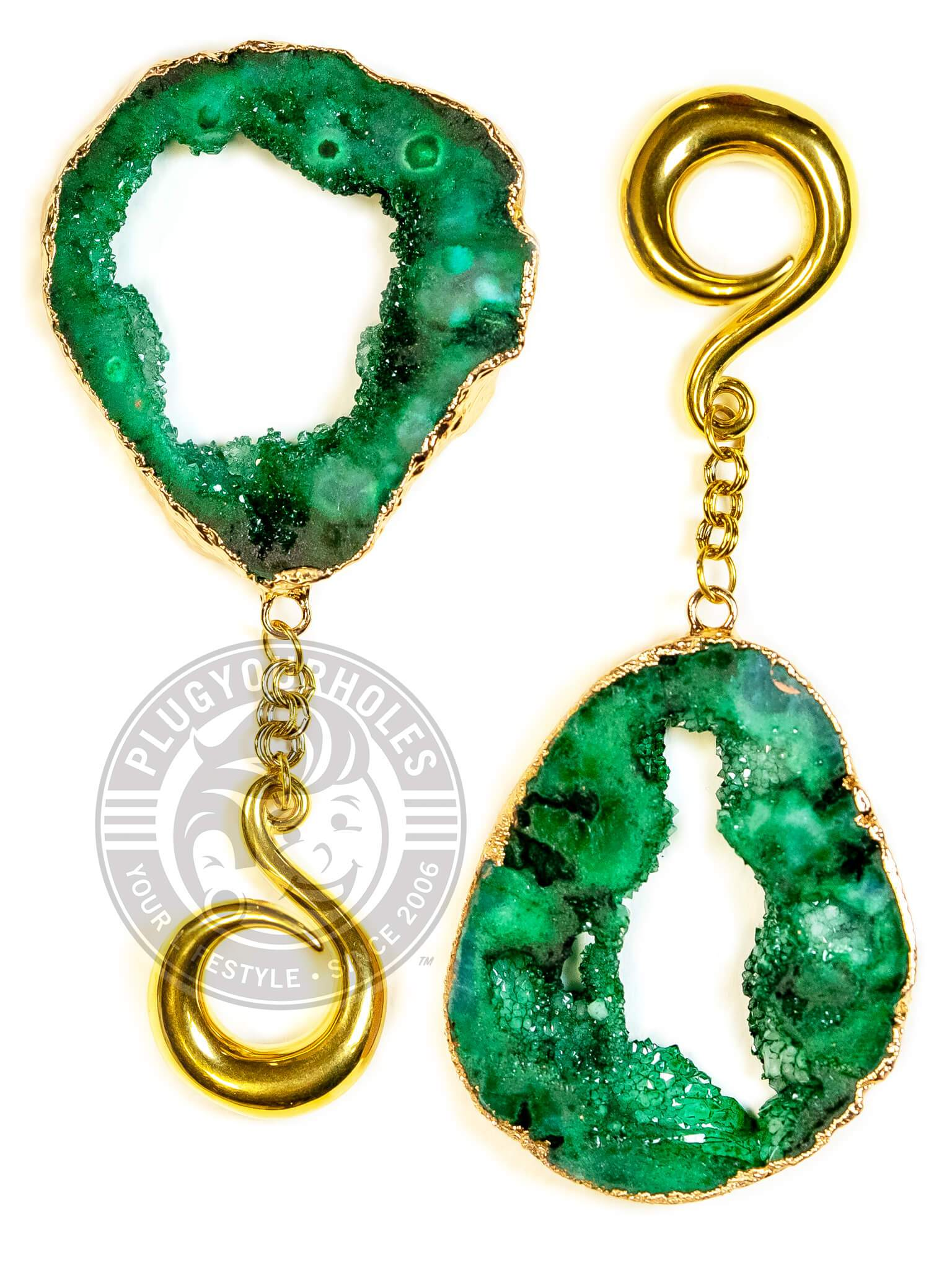 Emerald Green Crystalized Geode Slice Gold Curled Hook Hangers
