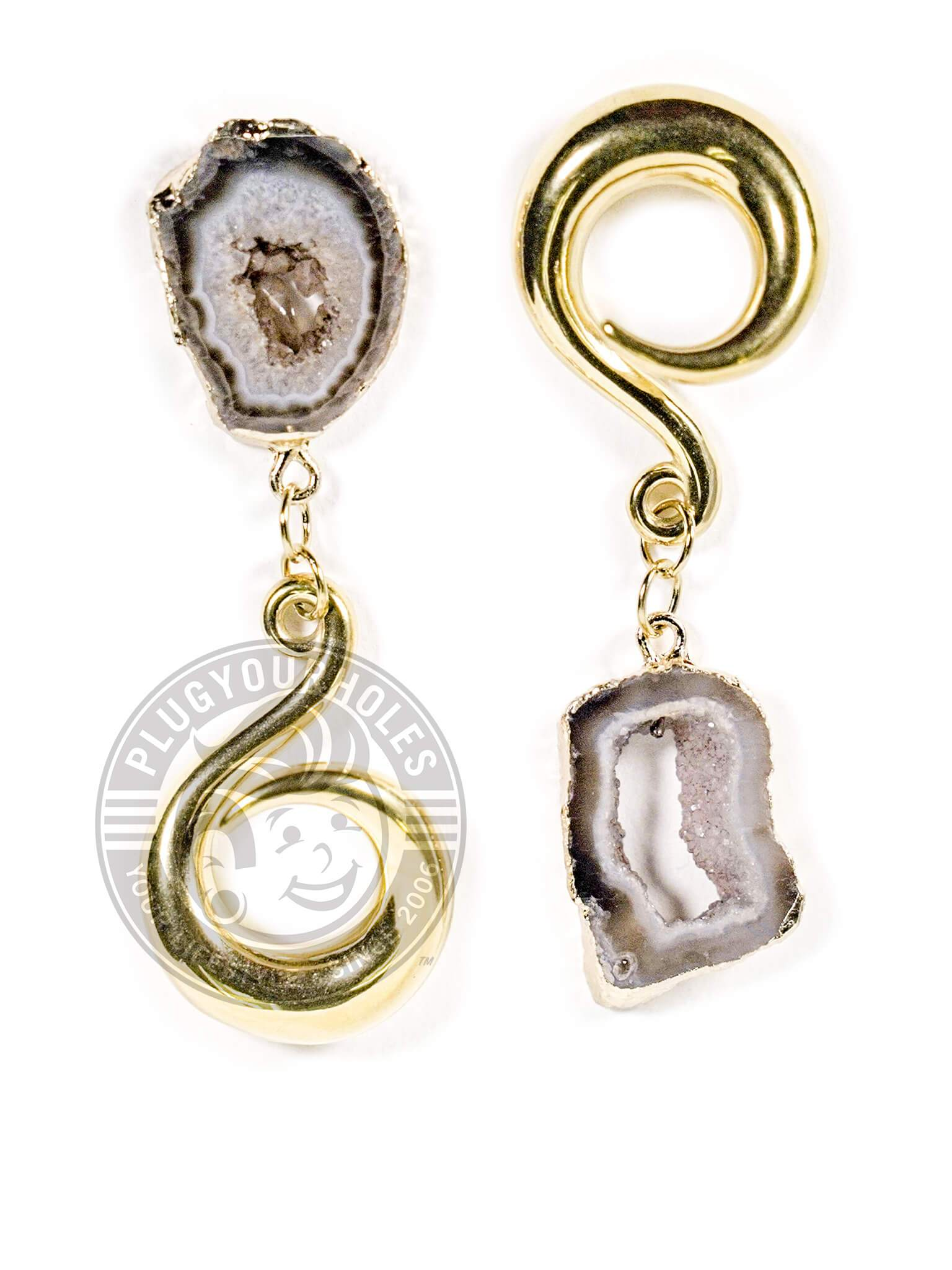 Small Grey Geode Slice Gold Curled Hook Hangers