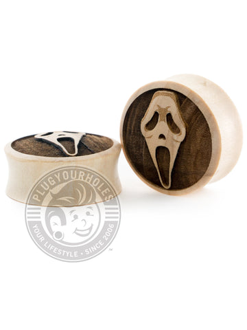 Ghostface Mask - Engraved Wood Plugs