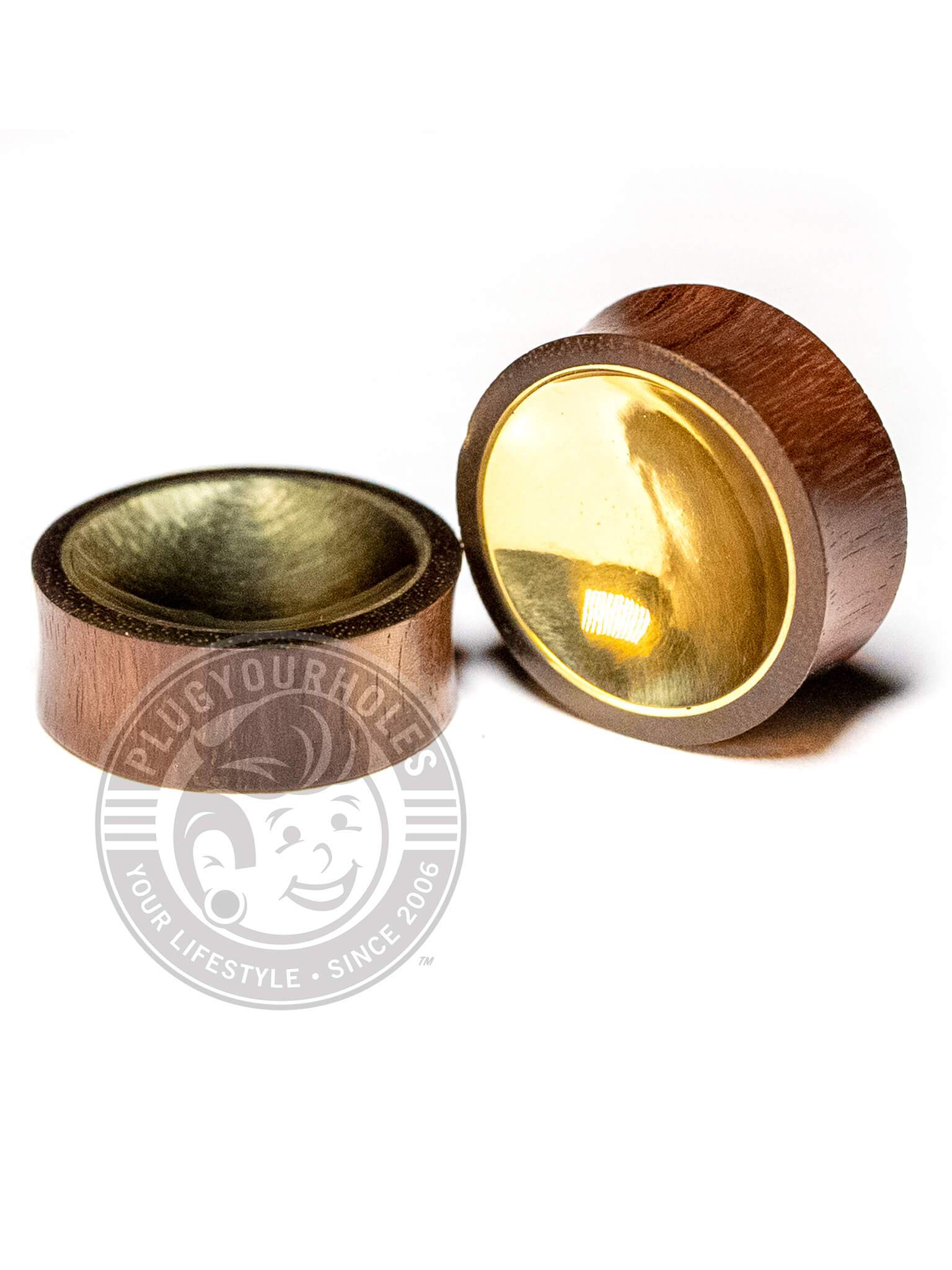 Gold Concave Inlay Sono Wood Plugs