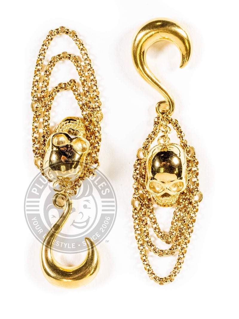 Gold Chained Skull Steel Hook Hangers