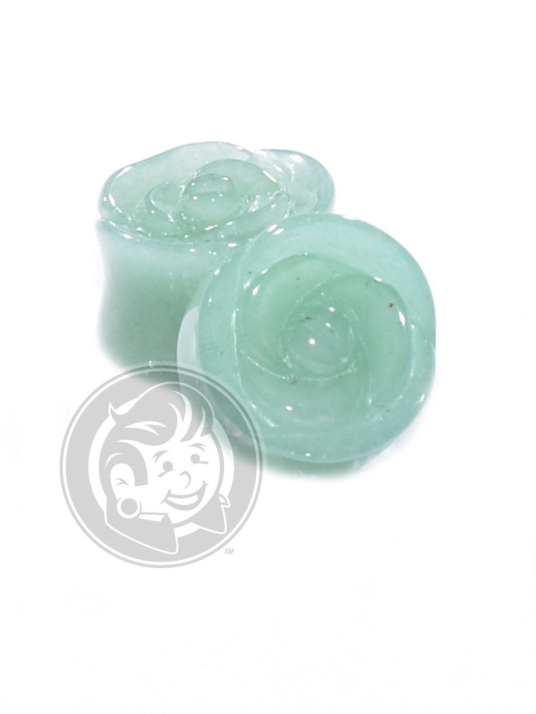 Green Aventurine Rose Cut Stone Plugs - Plug Your Holes - Your Lifestyle, Since 2006.