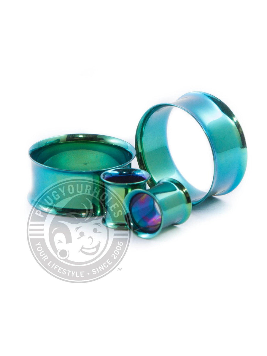 Green Double Flared Steel Tunnels - Plugyourholes.com