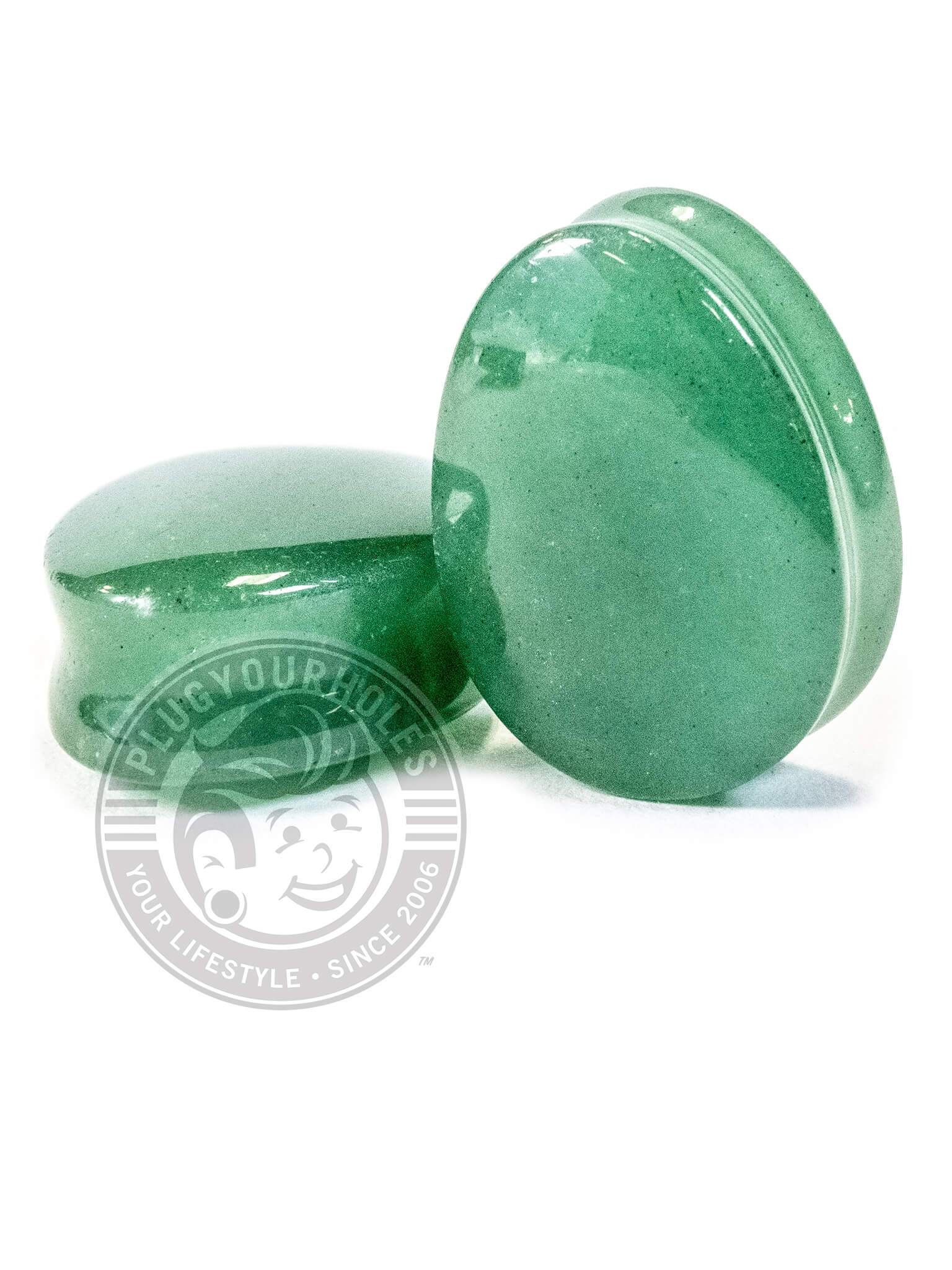 Green Aventurine Stone Teardrop Plugs