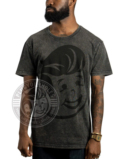 Plug Boy Head - Black - Acid Wash Unisex Tee