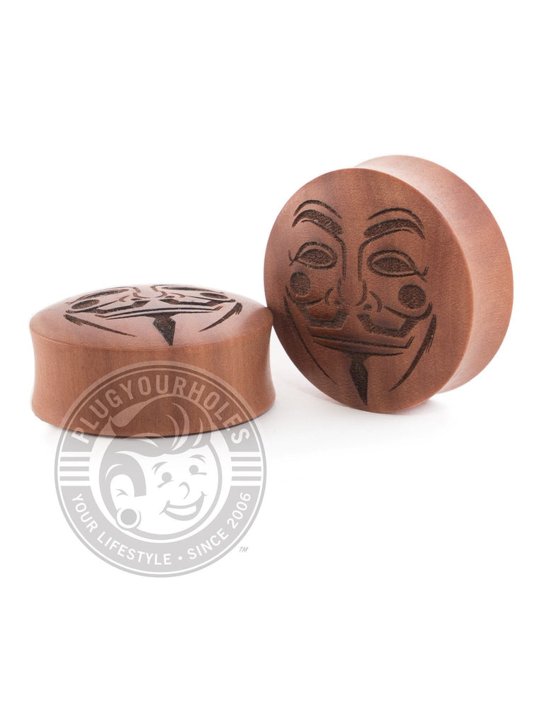 Guy Fawkes Engraved Wood Plugs