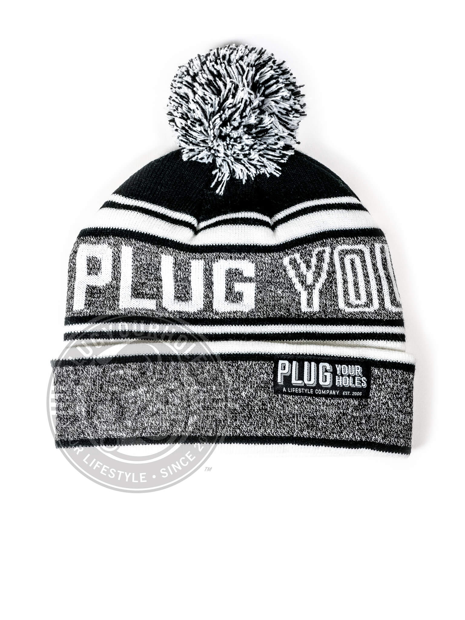 Plug Your Holes Grey & Black Pom Knit Beanie