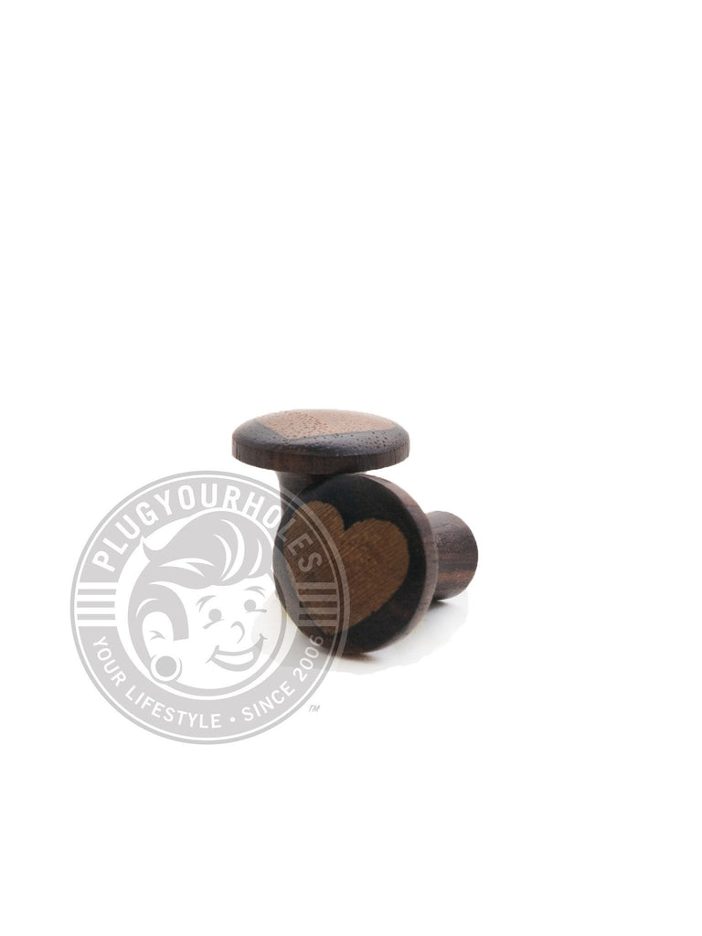 Sono Teak Heart Inlay Wood Plugs - Plugyourholes.com