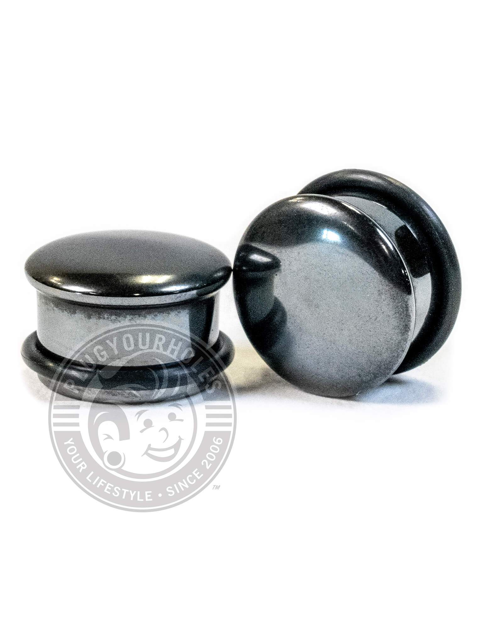 Hematite Single Flared Stone Plugs