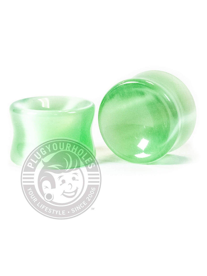 Lime Green Cat's Eye Concave Stone Plugs