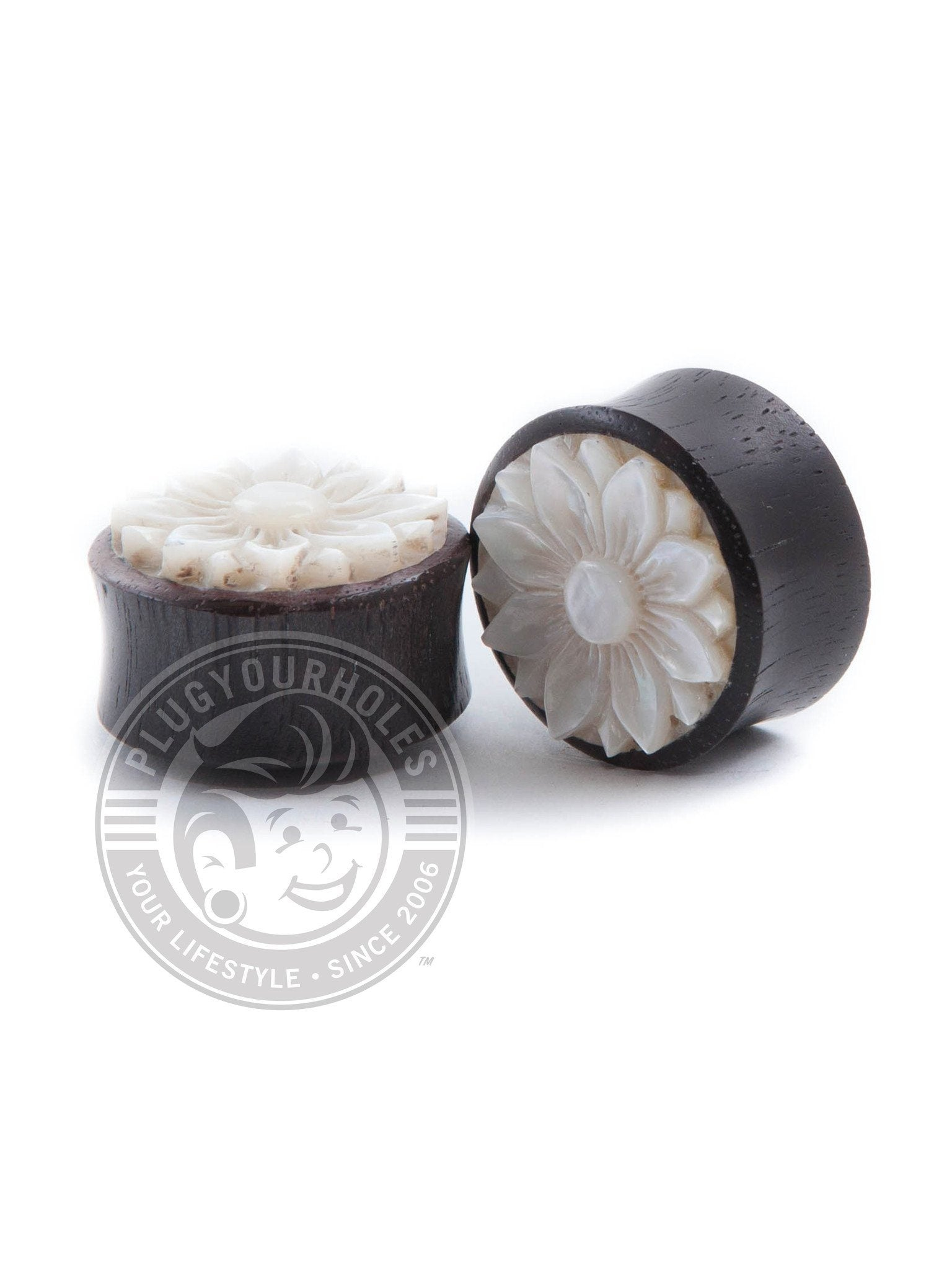 Lotus Flower Carved Mother of Pearl Ebony Wood Plugs