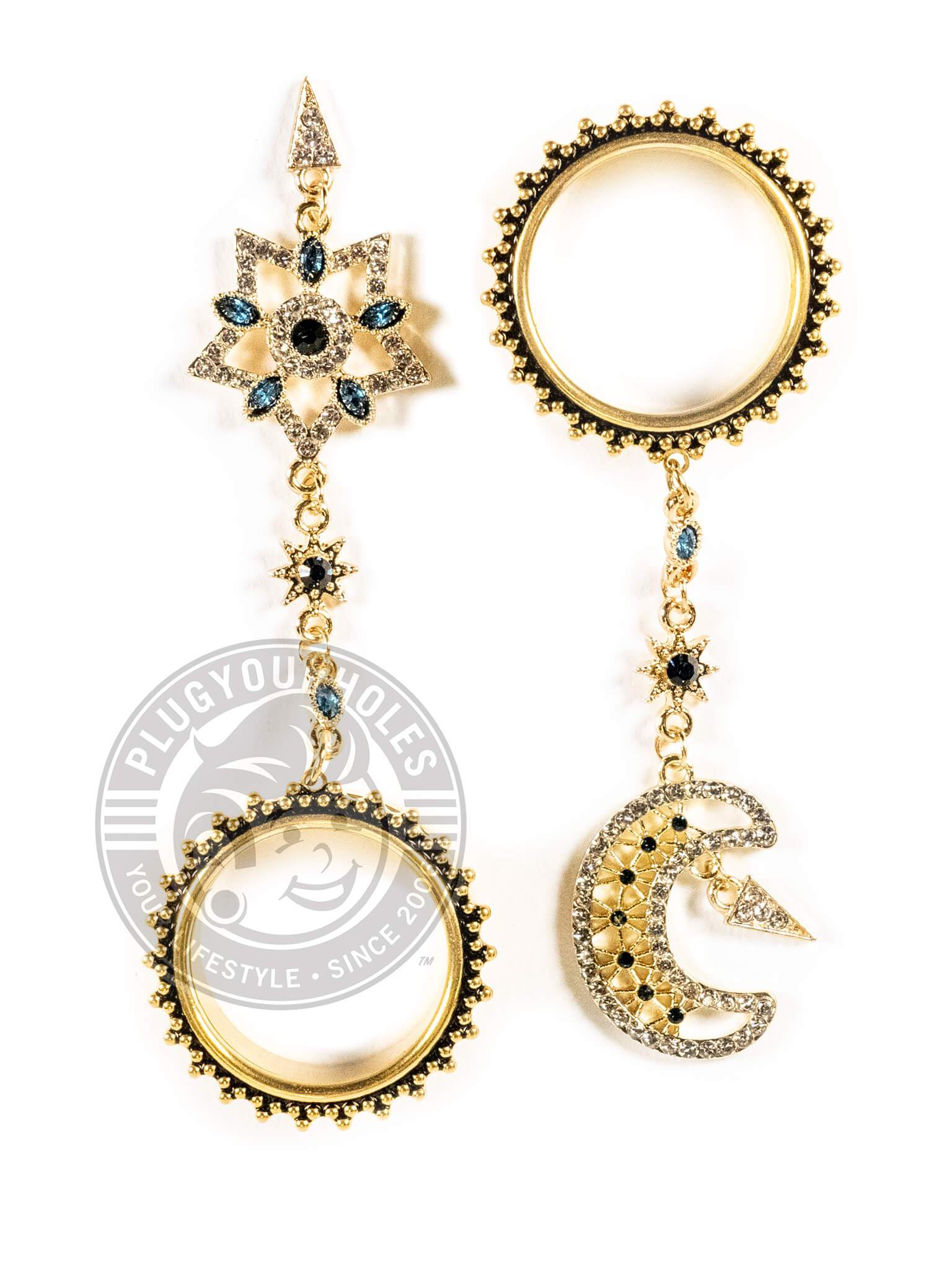 Gold Moon & Star Dangle Beaded Threaded Steel Tunnels