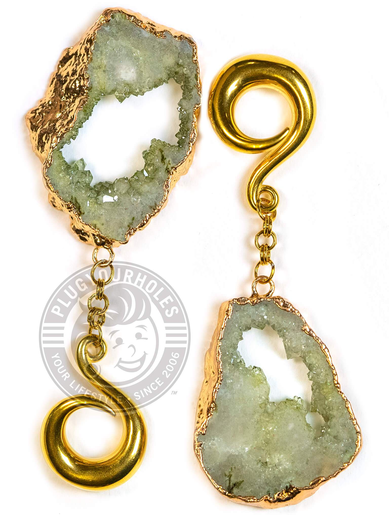 Moss Green Crystalized Geode Slice Gold Curled Hook Hangers