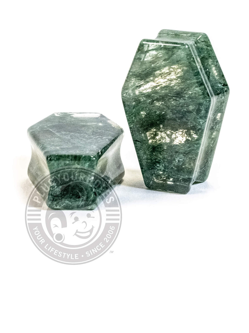 Moss Quartz Coffin Cut Stone Plugs