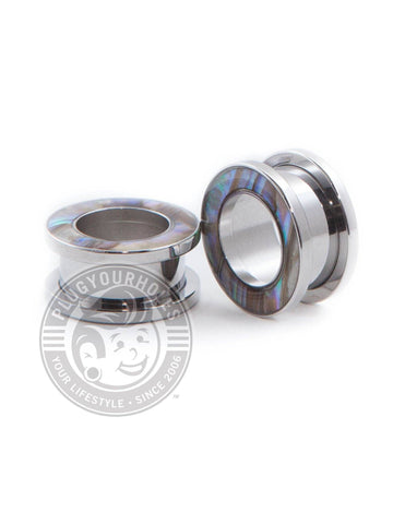 Mother of Pearl Threaded Steel Tunnels