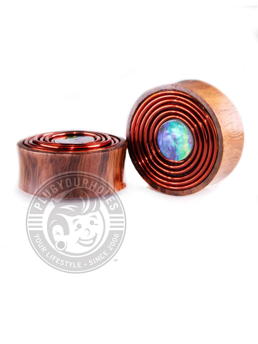 Mother of Pearl Inlay Copper Coil Sono Wood Plugs - Plugyourholes.com