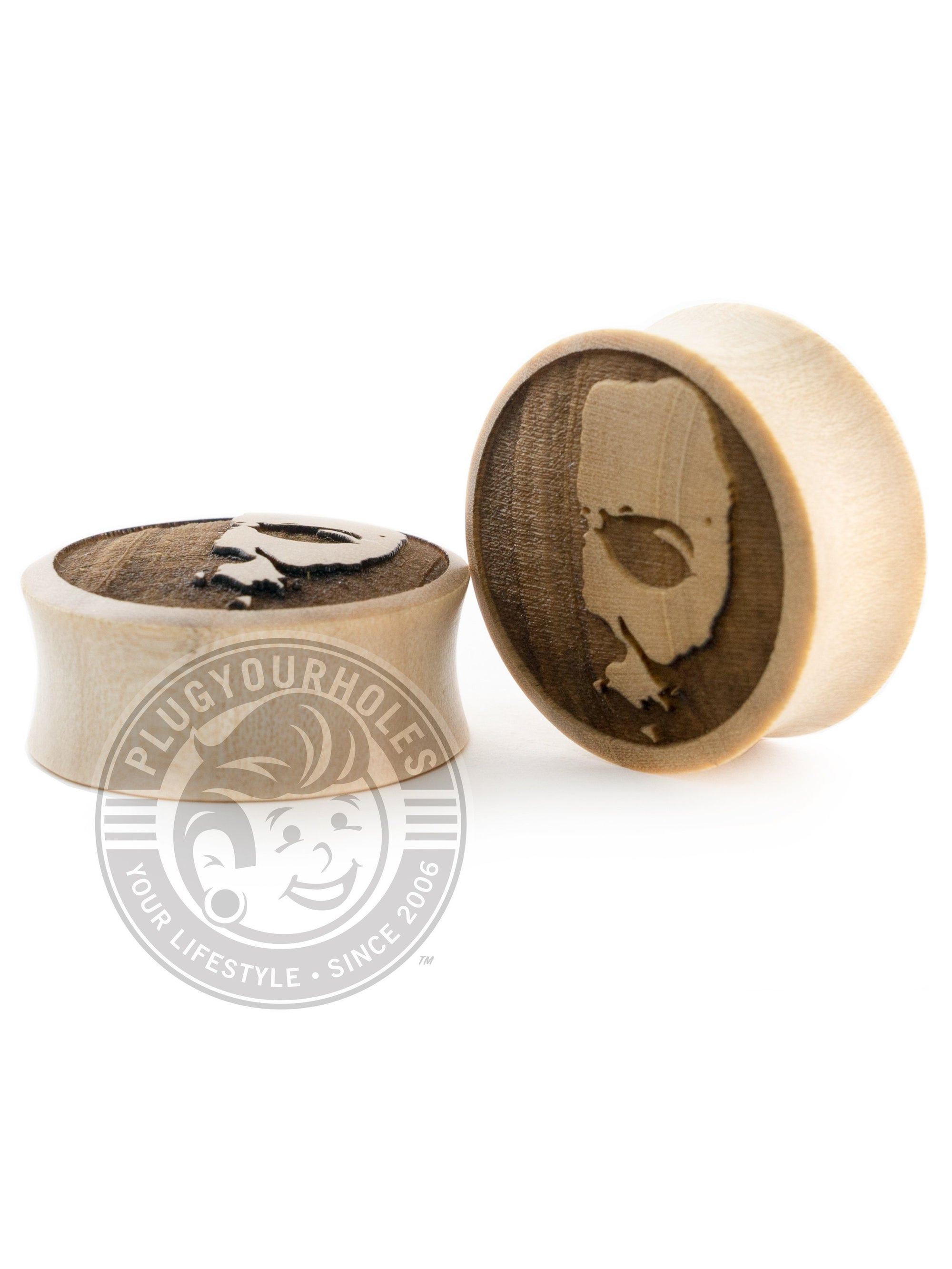 Michael Myers Half Mask - Engraved Wood Plugs