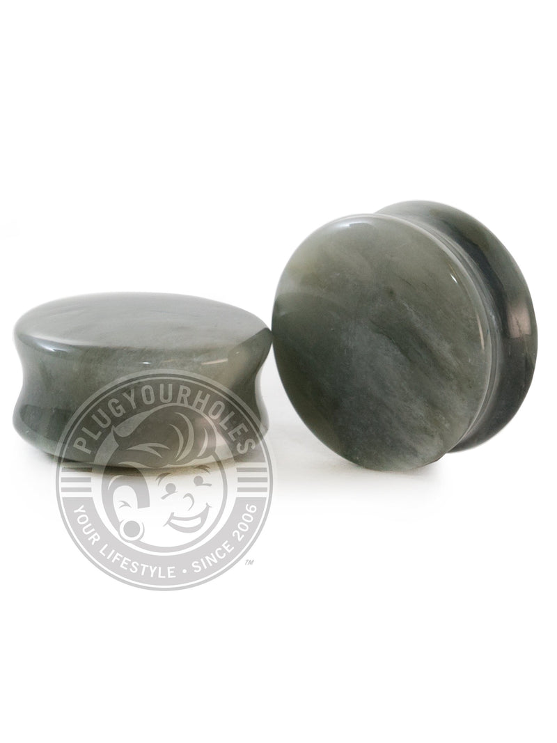 Green Jasper Convex Stone Plugs