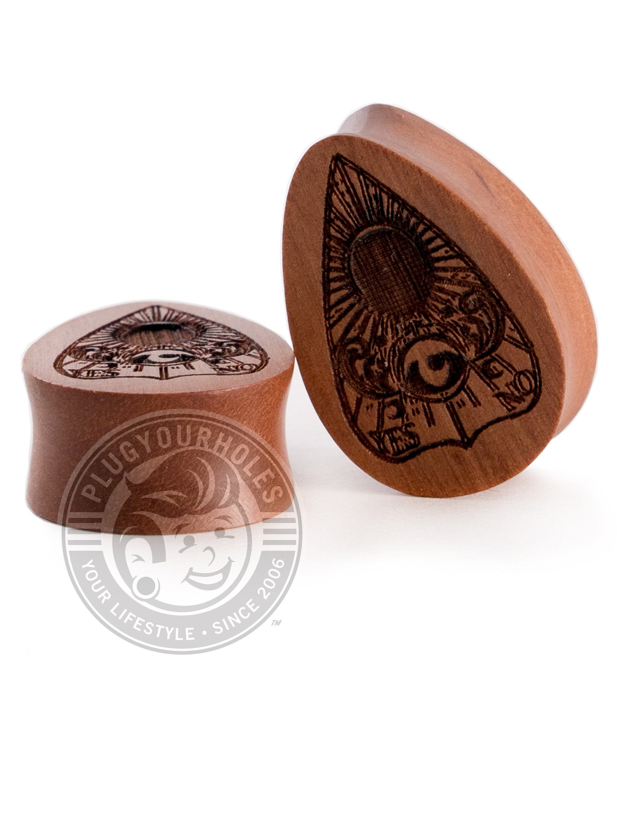 Planchette Tear Drop Sawo Engraved Wood Plugs