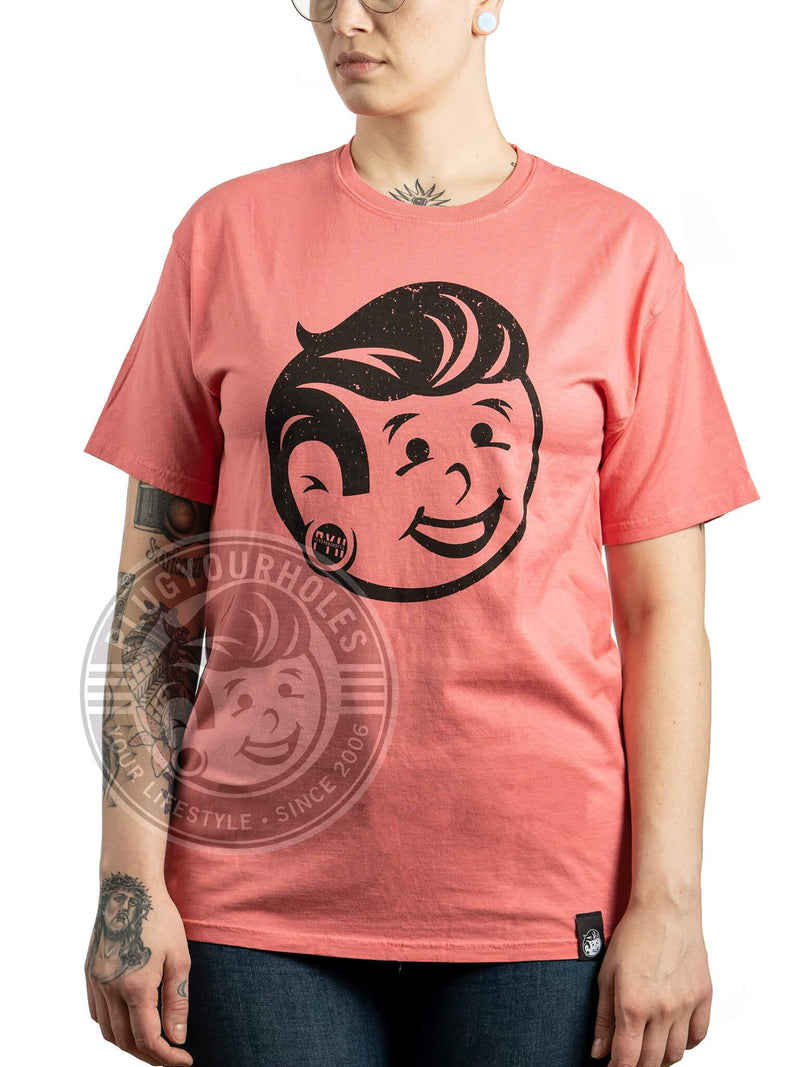 Plug Boy Distressed - Coral - Comfort Wash Unisex Tee