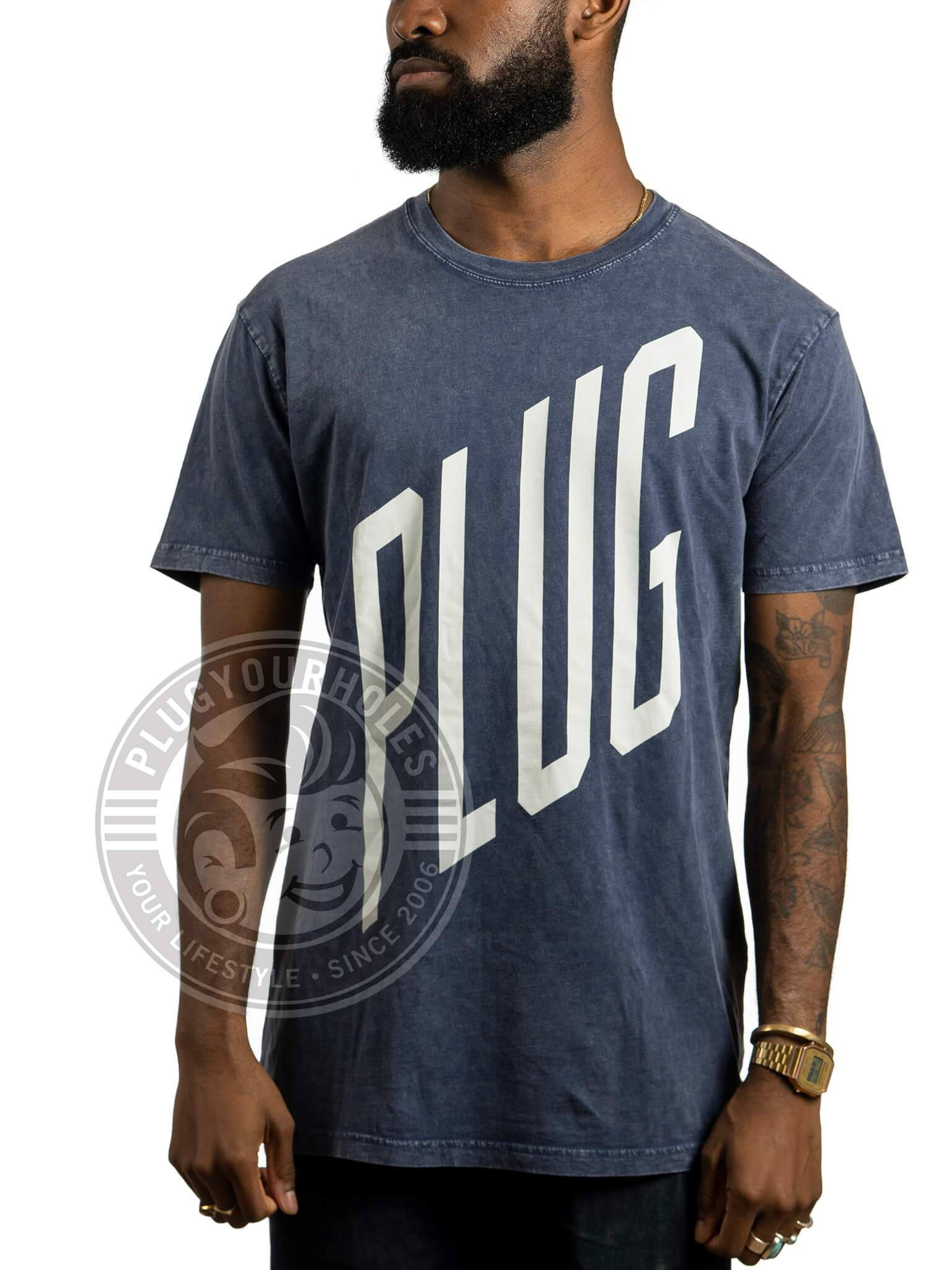 Cast Iron Plug - Blue - Acid Wash Unisex Tee