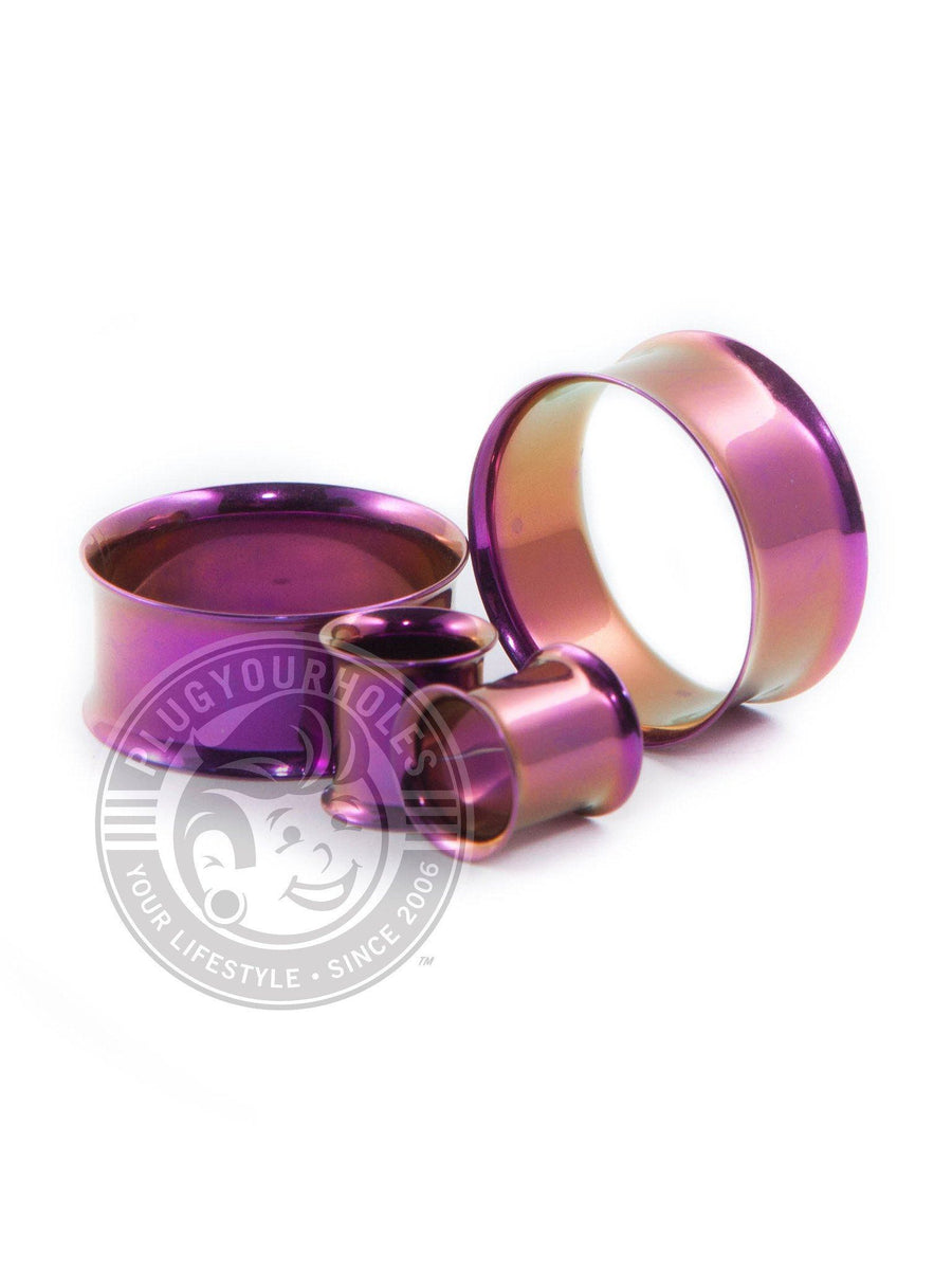 Purple Double Flared Steel Tunnels - Plugyourholes.com