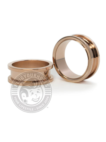 Rose Gold Threaded Steel Tunnels