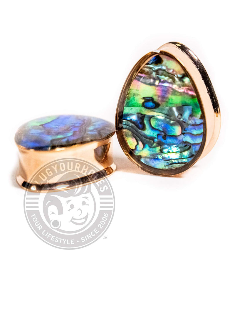 Rose Gold Abalone Inlay Double Flared Teardrop Steel Plugs