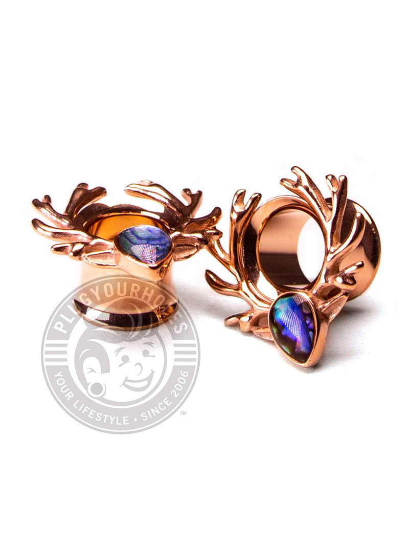 Rose Gold Deer Antlers with Abalone Double Flared Steel Tunnels
