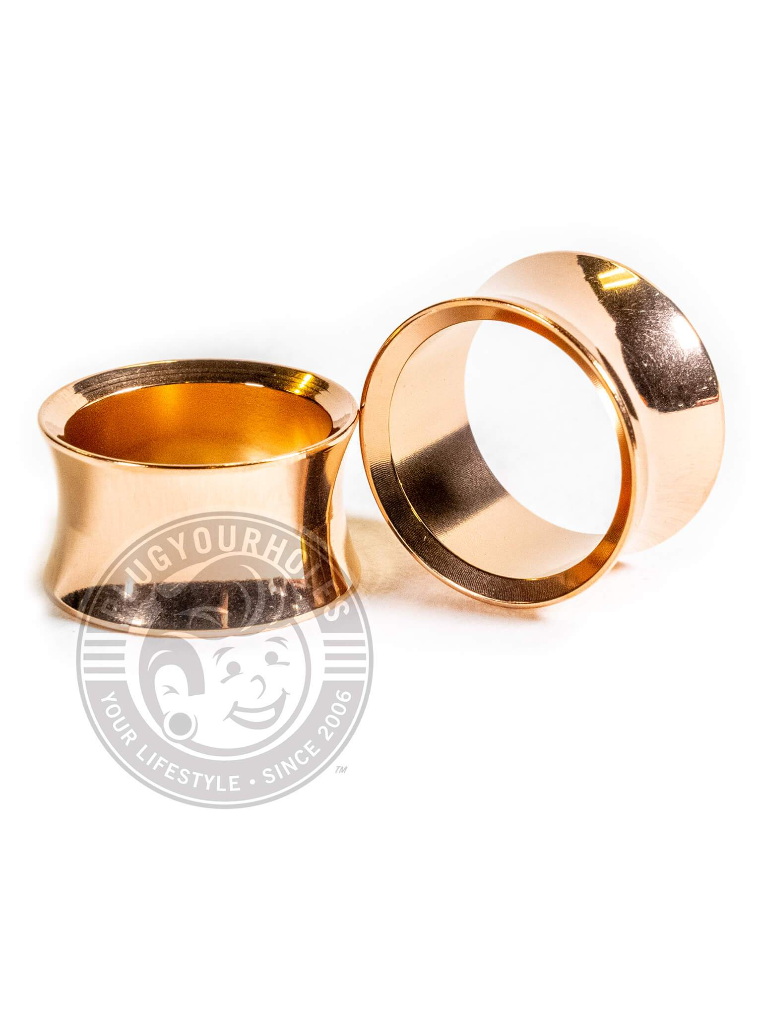 Rose Gold Double Flared Saddle Steel Tunnels