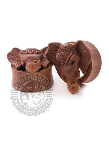 Elephant Carved Sawo Wood Plugs - Plugyourholes.com