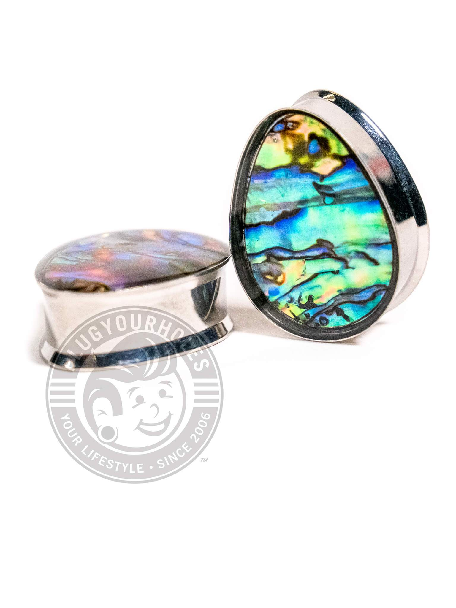 Abalone Inlay Double Flared Teardrop Steel Plugs