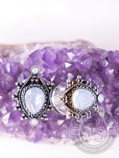Filigree Opalite Teardrop Center Double Flared Steel Plugs