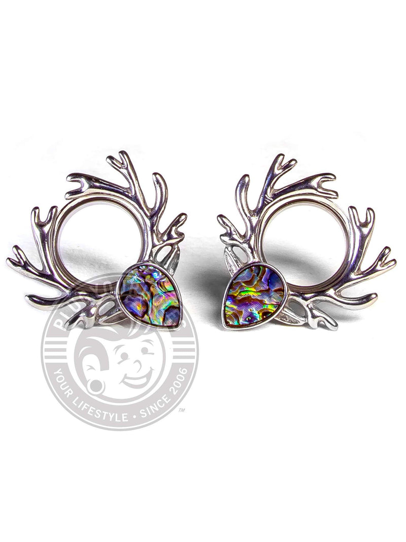 Deer Antlers with Abalone Double Flared Steel Tunnels