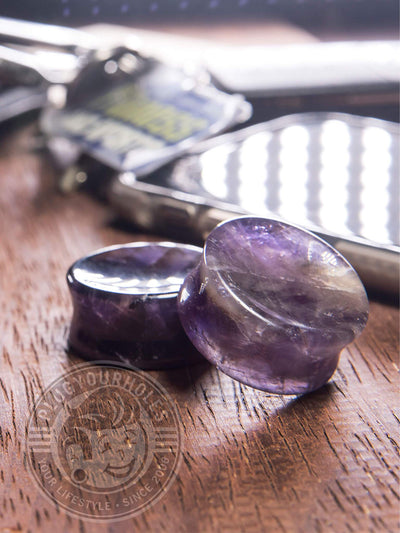 Amethyst Concave Stone Plugs