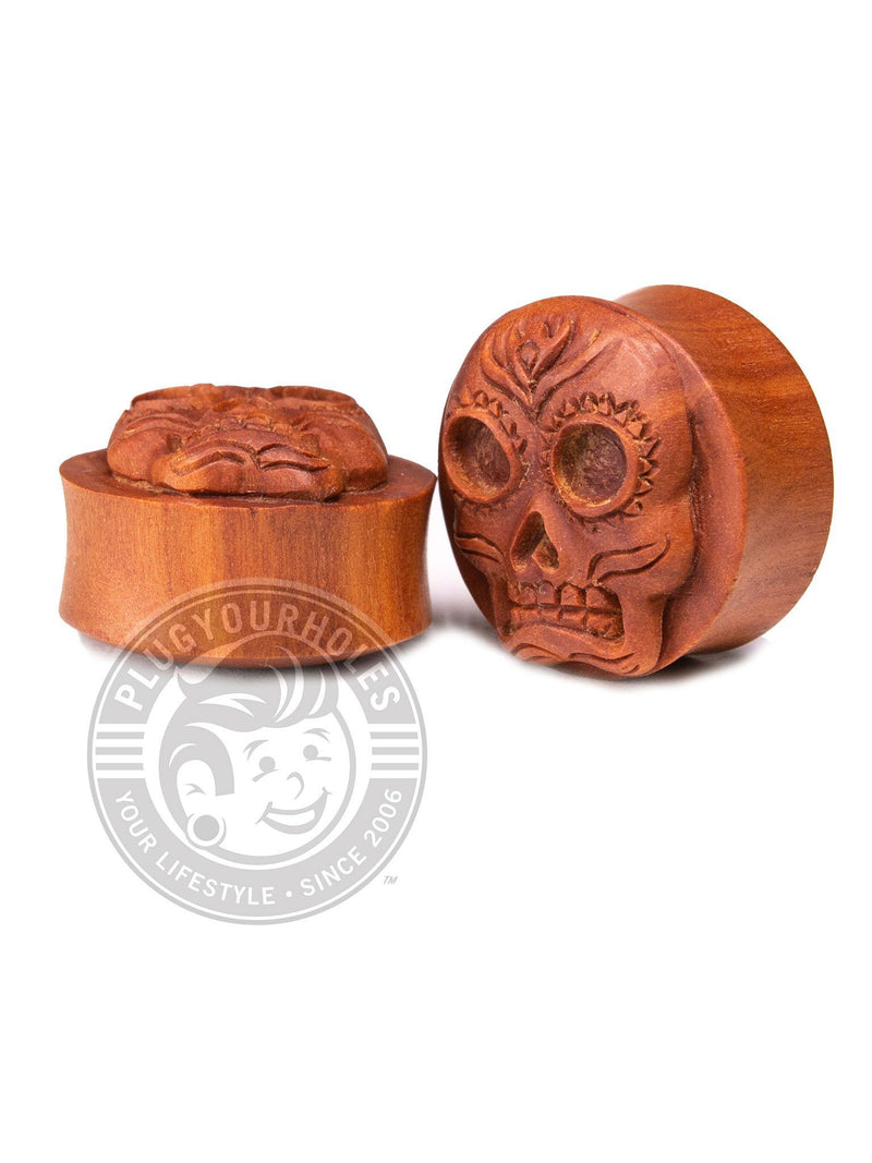 Sugar Skull Carved Sawo Wood Plugs