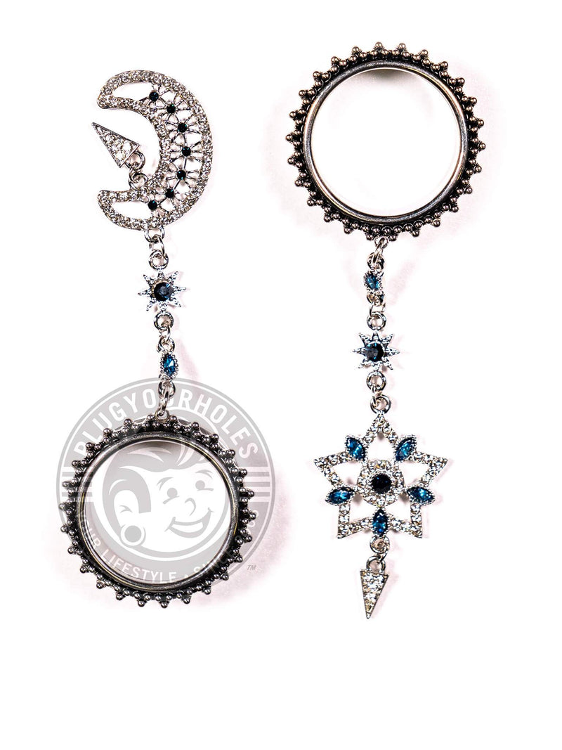 Moon & Star Dangle Beaded Threaded Steel Tunnels