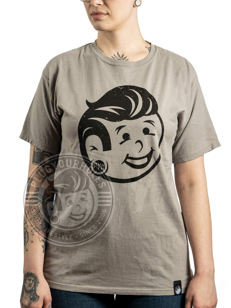 Plug Boy Distressed - Grey - Comfort Wash Unisex Tee