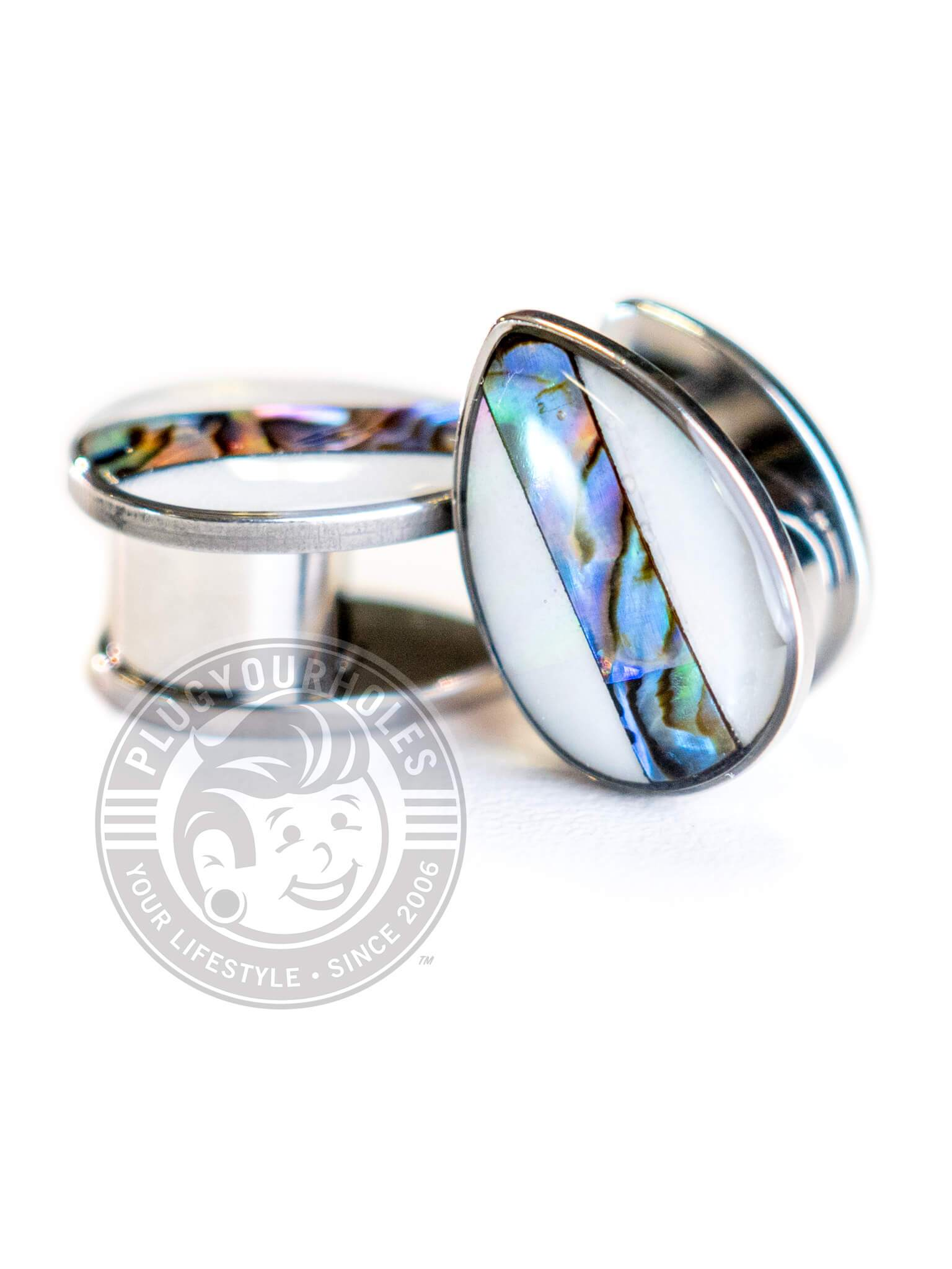 Teardrop Facade Abalone Stripe Steel Plugs